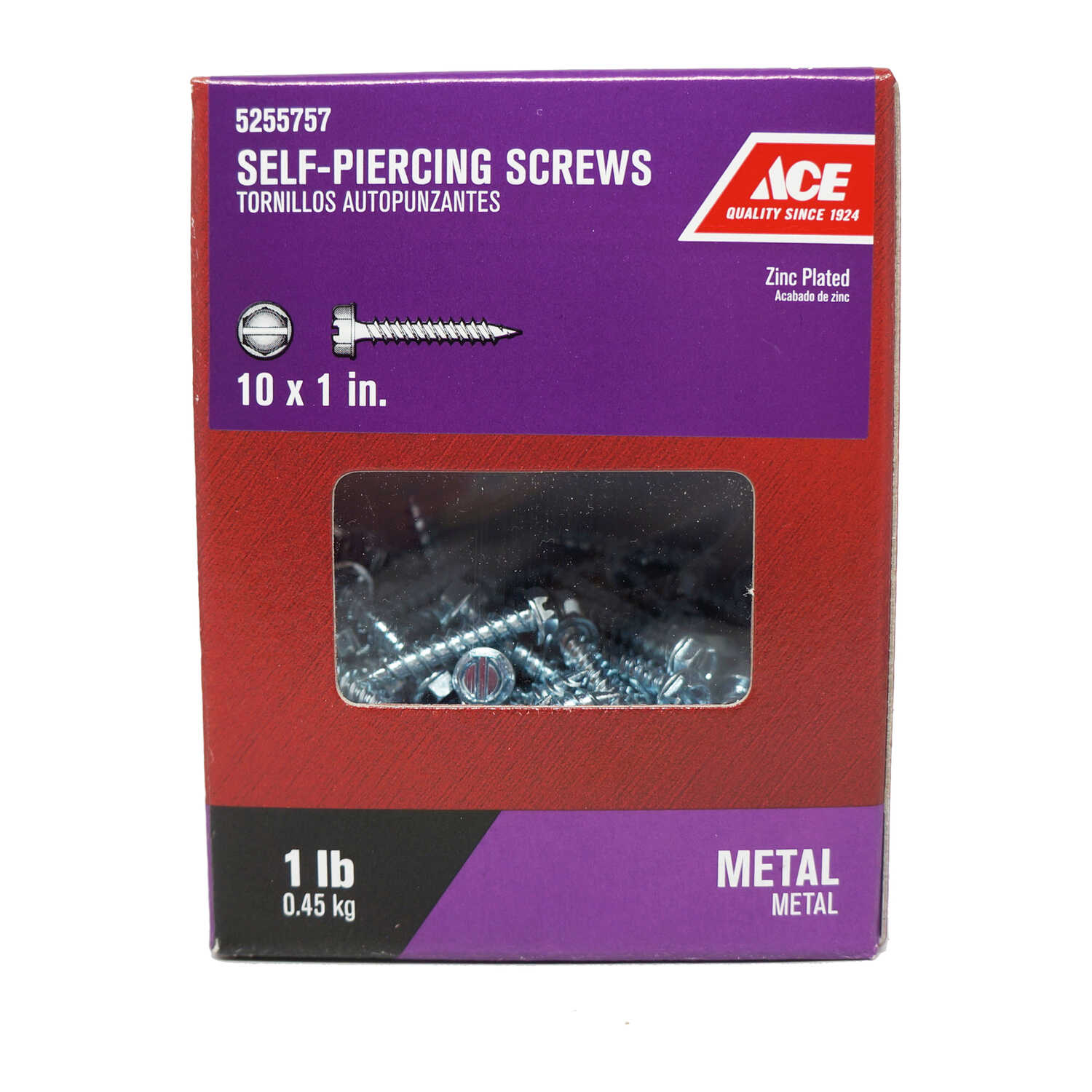 Ace  10 Sizes  x 1 in. L Hex/Slotted  Hex Washer Head Zinc-Plated  Steel  Self-Piercing Screws  1 lb