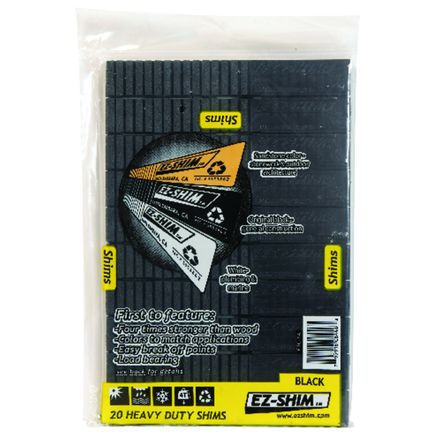 EZ SHIM  1.2 in. W x 8 in. L Plastic  20  Heavy Duty Shims