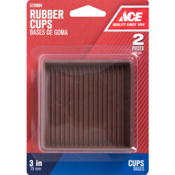 Ace  Rubber  Caster Cup  Brown  Square  3 in. W x 3 in. L 2 pk