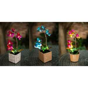 Infinity  Iron  Assorted  10.63 in. H Metal Flower in Pot with LED  Outdoor Decoration