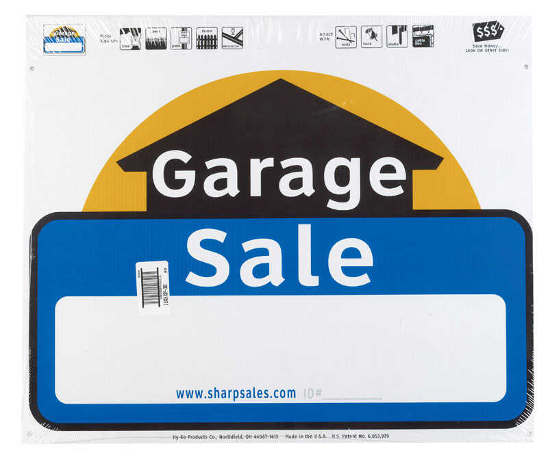 Hy-Ko  English  Garage Sale  Sign  Plastic  20 in. H x 24 in. W