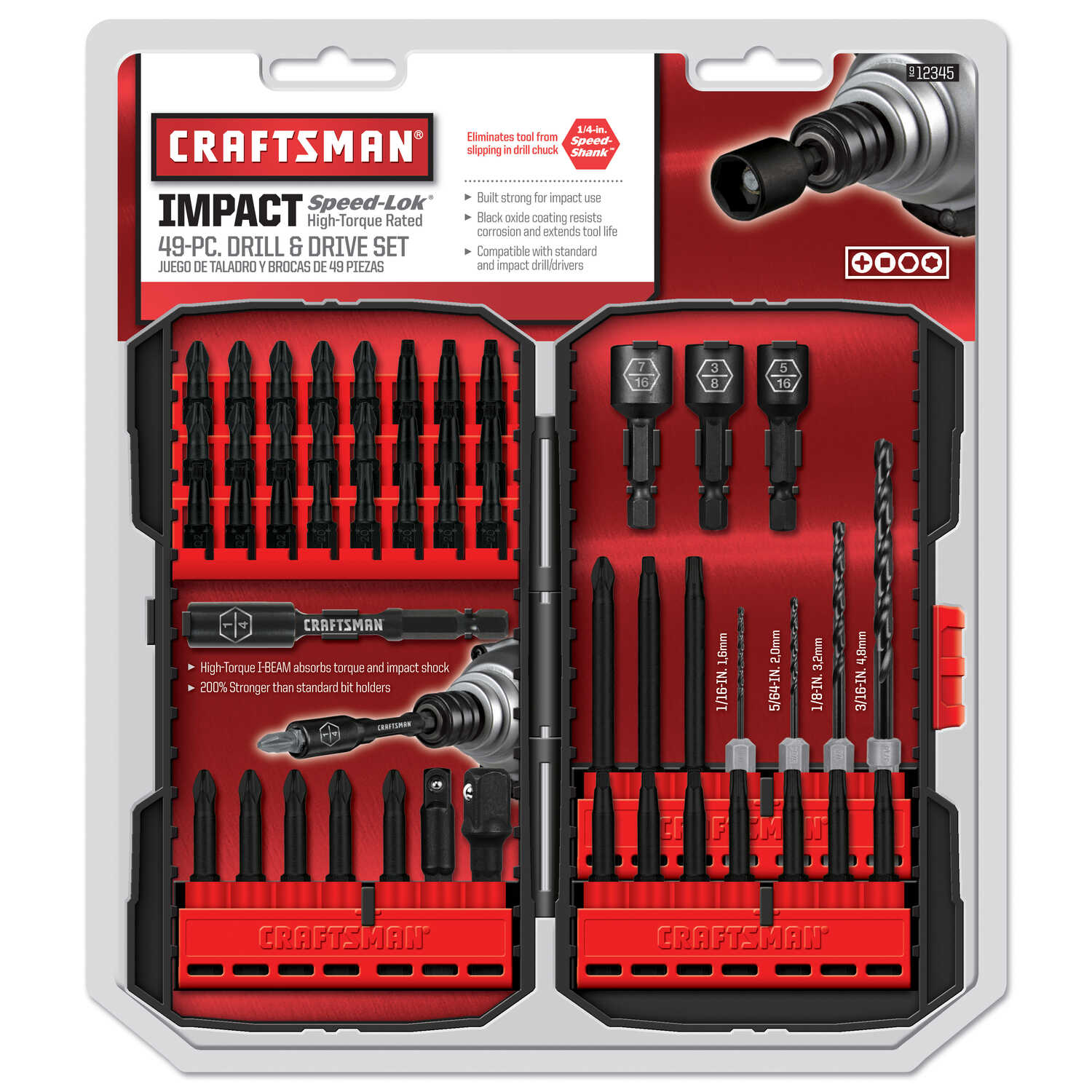 Craftsman  Speed-Lok  Multi Size  Dia. x 1/4 inch  L High Speed Steel  Drill and Driver Bit Set  49