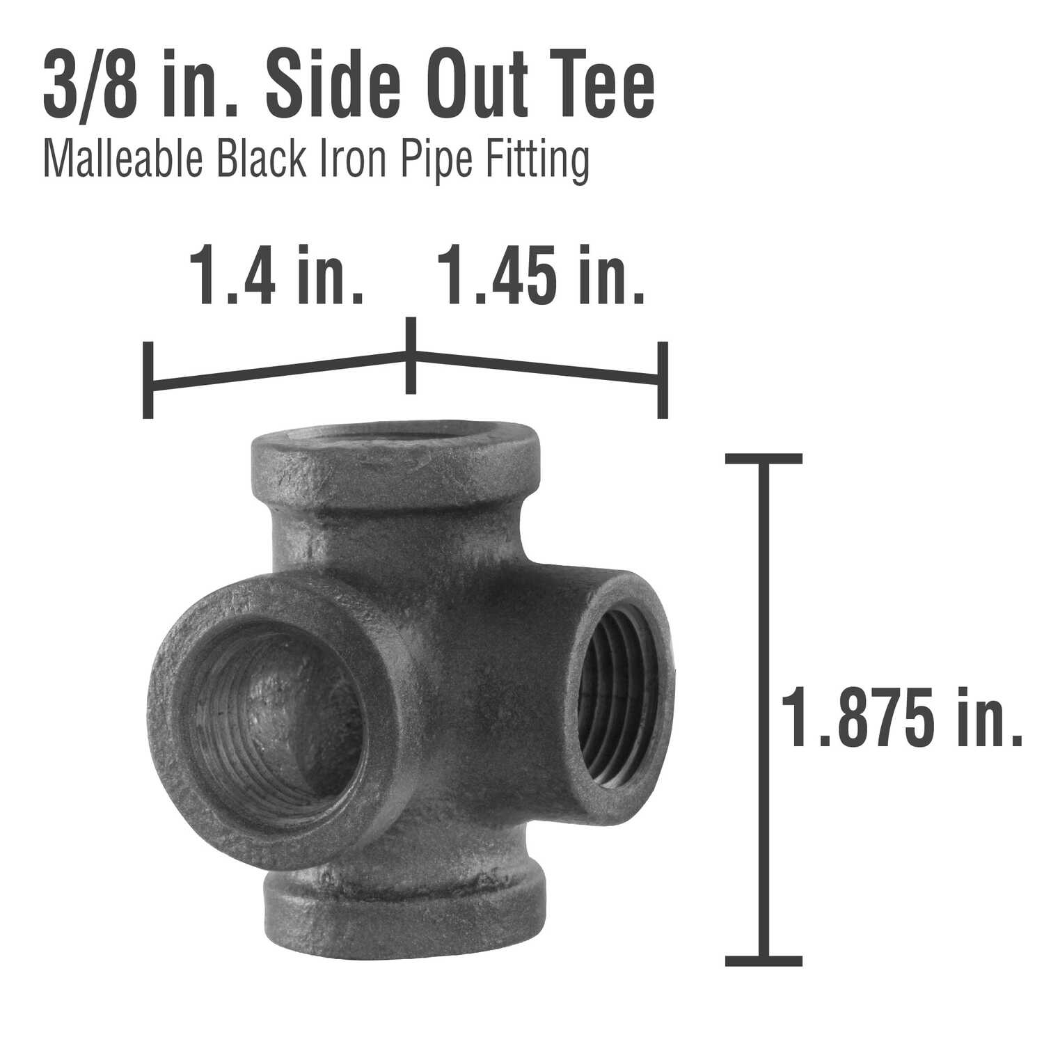 Pipe Decor  3/8 in. FIP   x 3/8 in. Dia. FIP  Black  Malleable Iron  Side Outlet