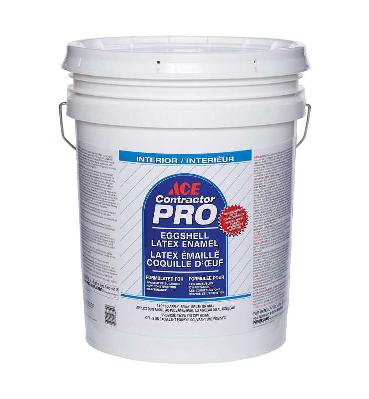 Ace  Contractor Pro  Eggshell  Ultra White  Ultra White Base  Latex  Paint  5 gal.