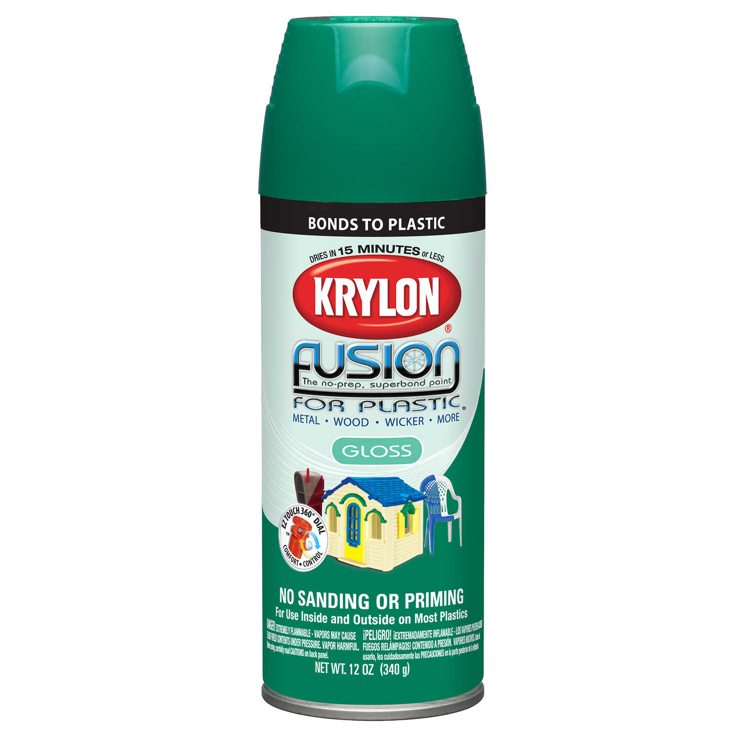 Krylon  Gloss  Spring Grass  12 oz. Fusion Spray Paint