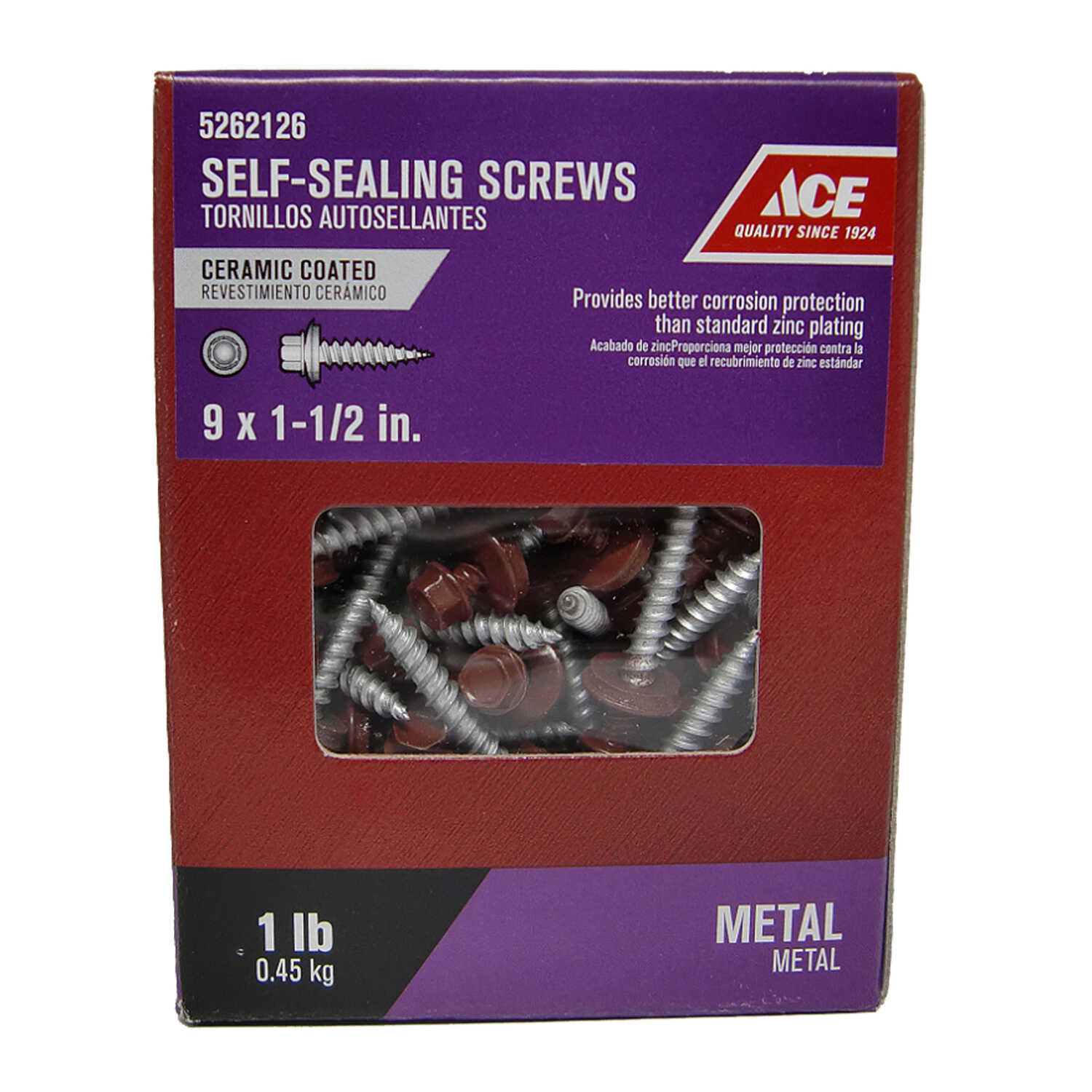 Ace  9 Sizes  x 1-1/2 in. L Steel  Ceramic  1 lb. Self-Sealing Screws  Hex Washer Head