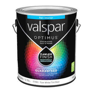 Valspar  Optimus  Flat  Tintable  Pure White Tint Base  Acrylic Latex  Paint and Primer  1 gal.