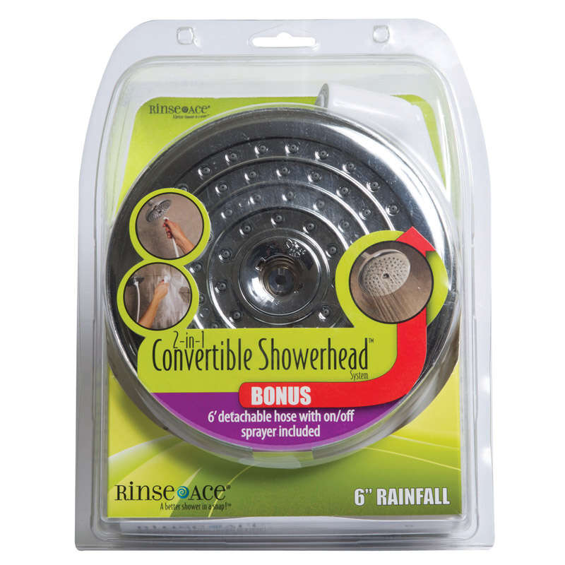 Rinse Ace  2-in-1  Polished  ABS  1 settings Convertible Showerhead  2.5 gpm