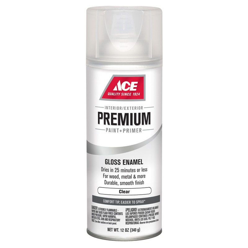 Ace  Premium  Gloss  Clear  Enamel Spray Paint  12 oz.