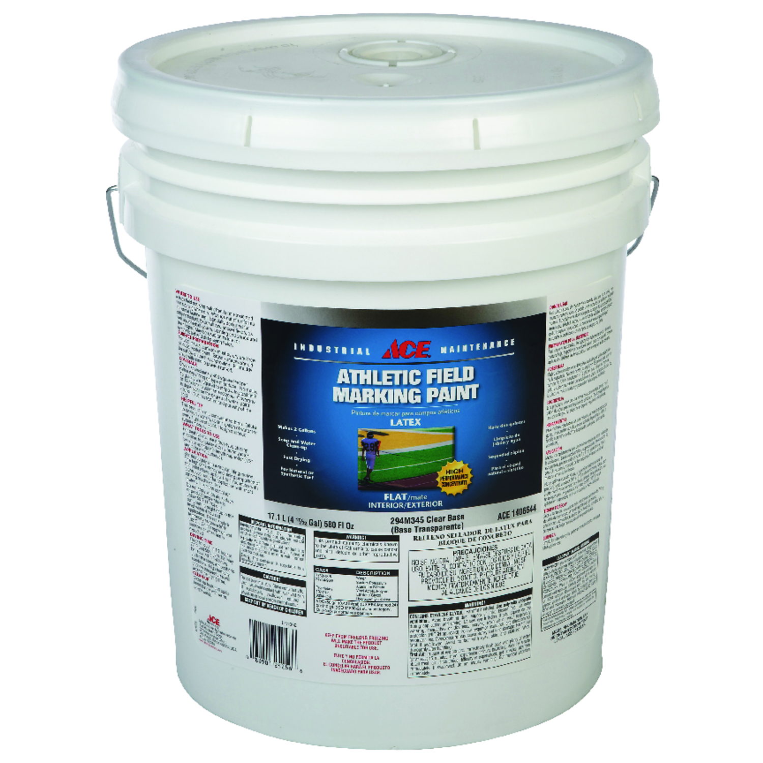Ace  Tintable Base  Field Marking Paint  5 gal. Latex  Flat  Clear Base