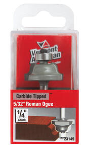 Vermont American  1-1/8 in. Dia. x 5/32 in.  x 2-1/8 in. L Carbide Tipped  Roman Ogee  Router Bit