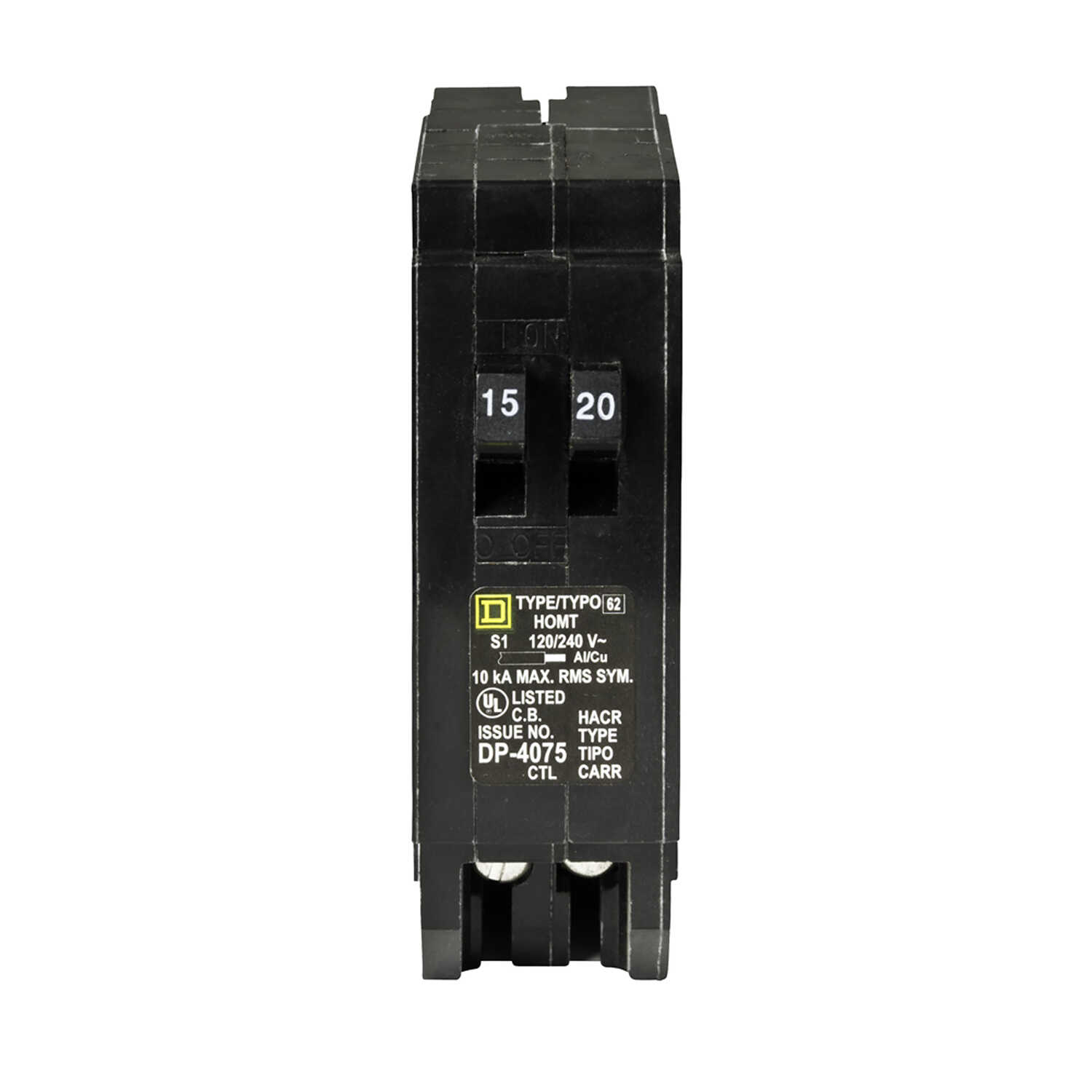 Schneider Electric  Square D  20 amps Tandem  Single Pole  Miniature Circuit Breaker