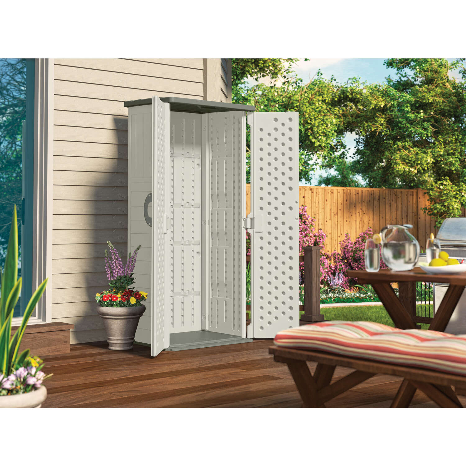 Suncast  6 ft. H x 2 ft. 8-1/4 in. W x 2 ft. 1-1/2 in. D Vanilla  Resin  Vertical Storage Shed