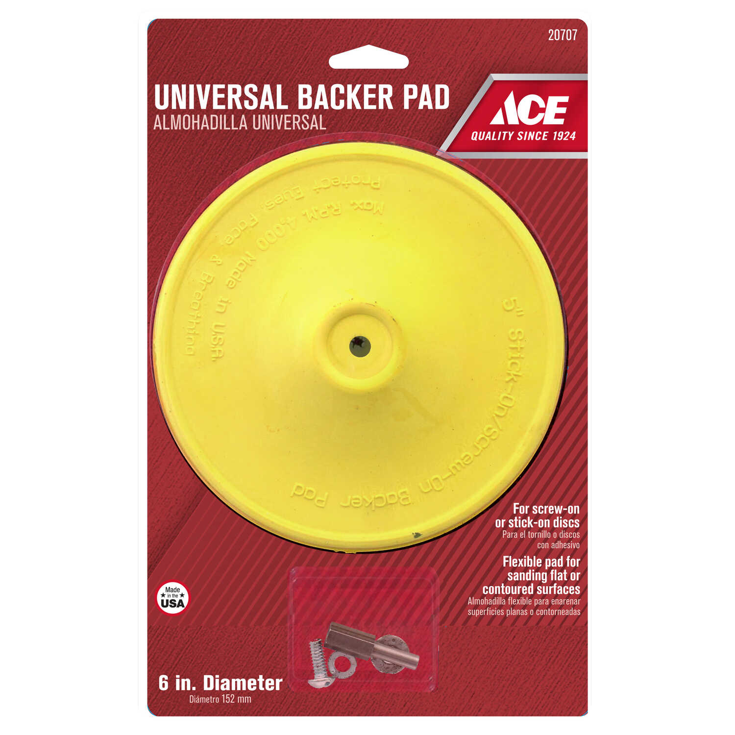 Ace  6 in. Dia. Plastic  Backing Pad  1/4 in.  3000 rpm 1 pc.