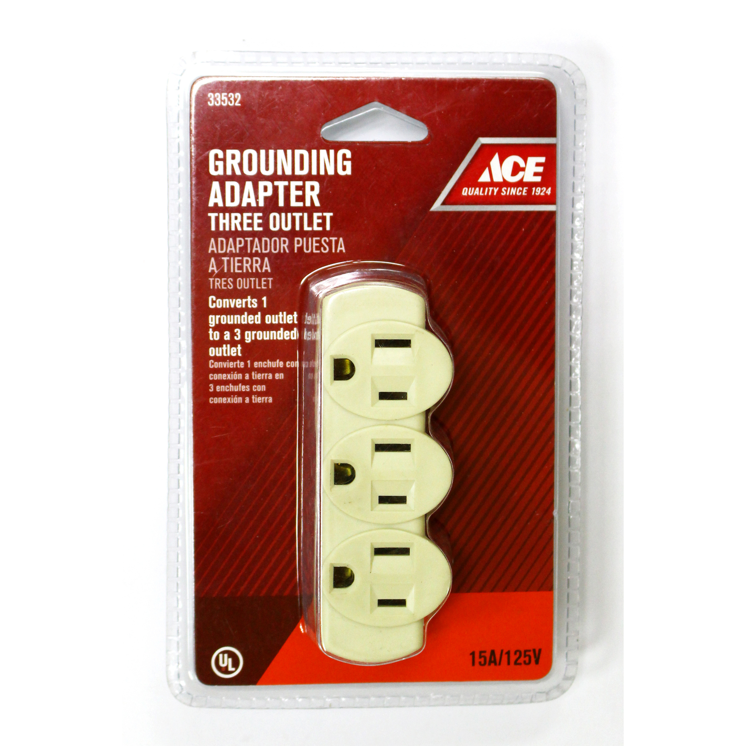 Ace  Grounded  3  1 pk Surge Protection Triple Outlet Adapter