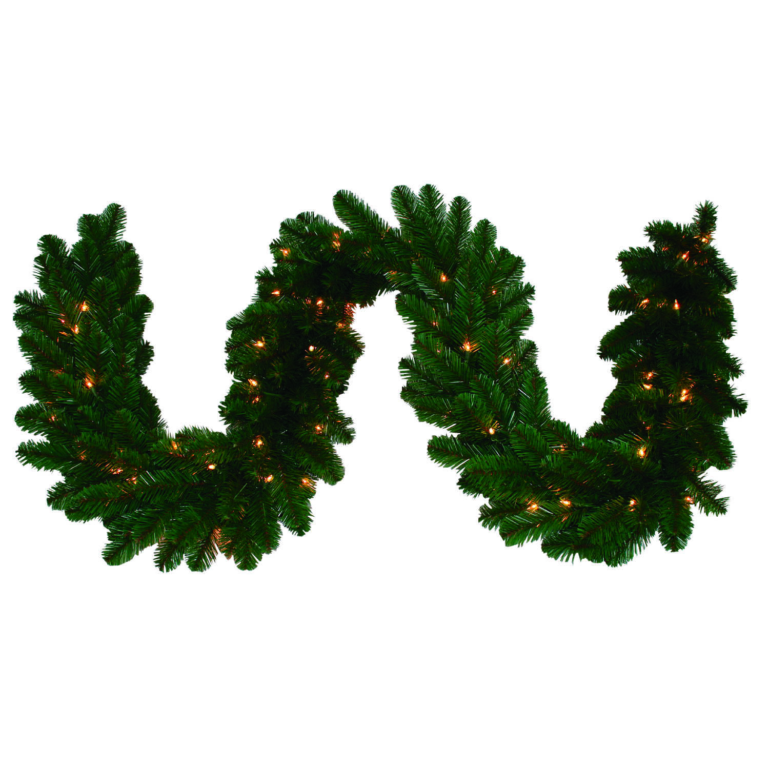 J & J Seasonal  Prelit Green  Masterpiece Commercial Garland  9 ft. L Clear
