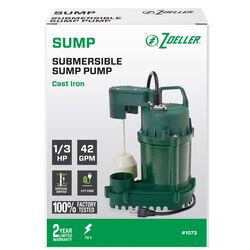 Zoeller  1/3 hp 42 gph Cast Iron  Vertical Float Switch  AC  Bottom Suction  Submersible Sump Pump
