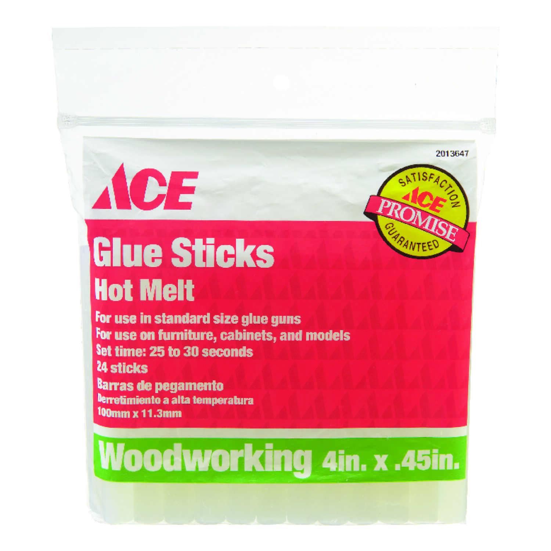 Ace  45 in  Dia  x 4 in  L Glue Sticks Clear 24 pk - Ace