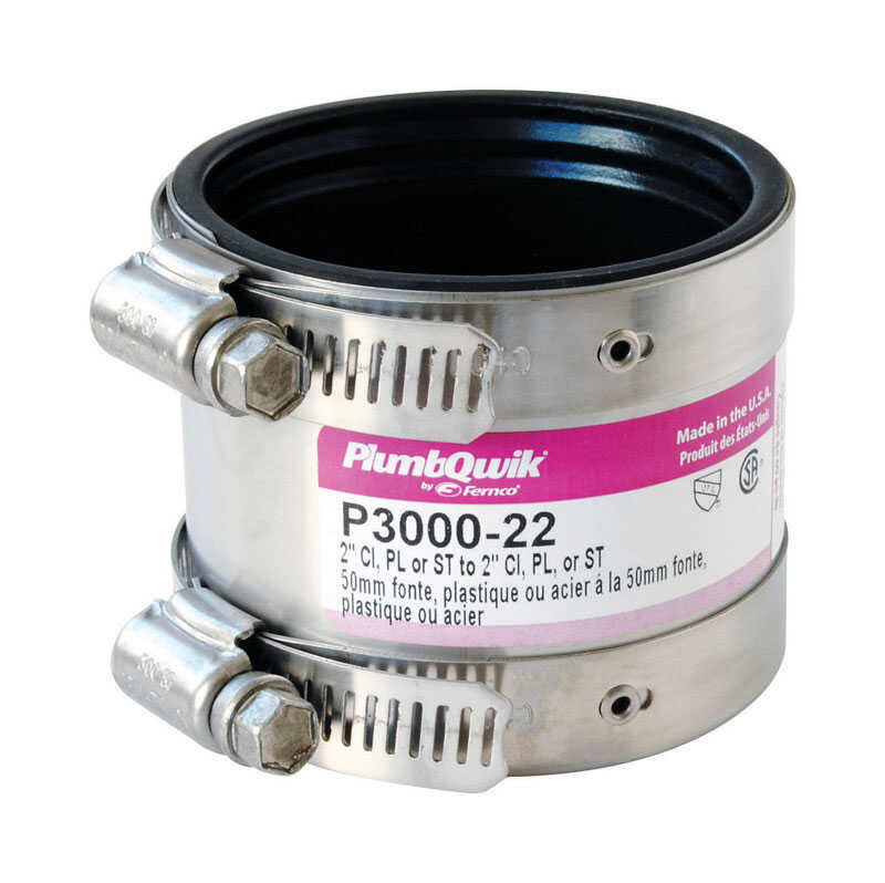 Fernco  Schedule 40  2 in. Hub   x 2 in. Dia. Hub  Neoprene Rubber  For DWV, sewer and drain Shielde
