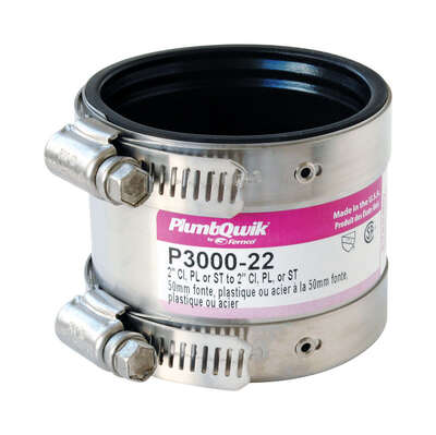 Fernco  Schedule 40  2 in. Hub   x 2 in. Dia. Hub  Neoprene Rubber  Shielded Coupling