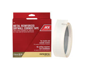 Ace  300 ft. L x 2 in. W x 2 in. W x 25 ft. L Self Adhesive White  Reinforced Metal  Corner Tape