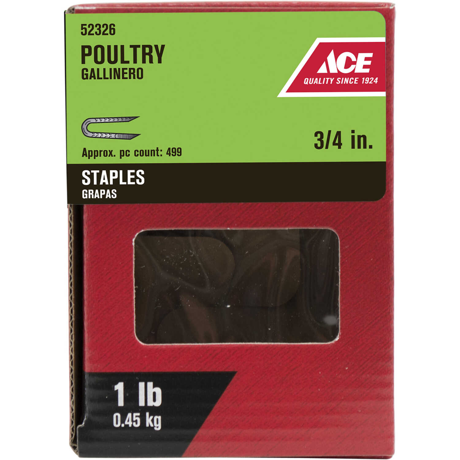 Ace  3/4 in. L Galvanized  Steel  Poultry Staples  1 lb.