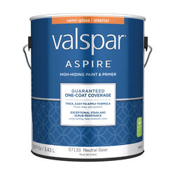 Valspar  Aspire  Semi-Gloss  Tintable  Neutral Base  Paint and Primer  Interior  1 gal.