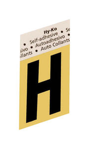 Hy-Ko  1-1/2 in. Black  Aluminum  Letter  H  Self-Adhesive  1 pc.