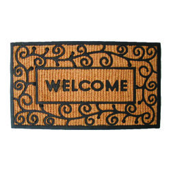 J & M Home Fashions 30 in. L x 18 in. W Black Nonslip Door Mat