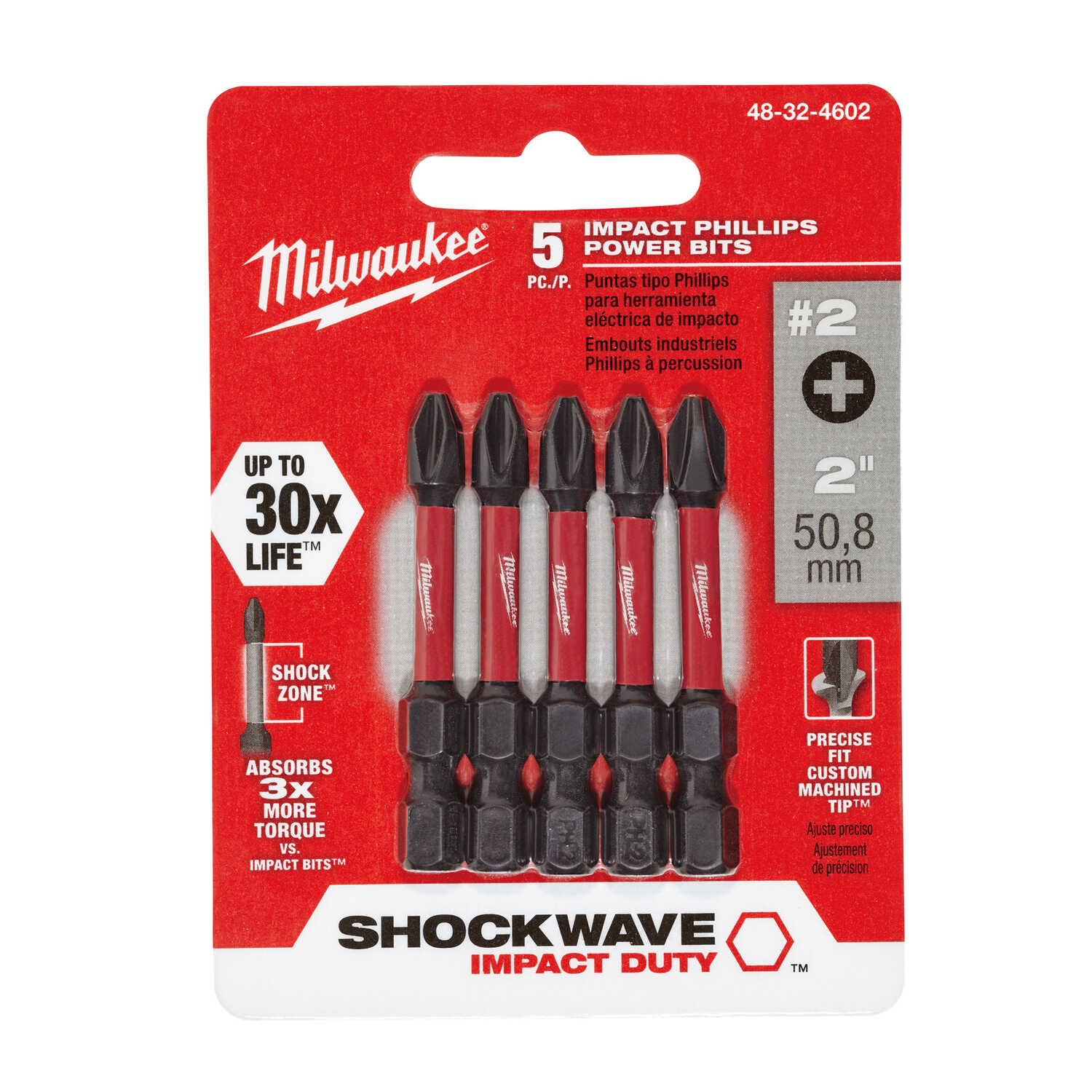 Milwaukee  SHOCKWAVE  Phillips  #2  2 in. L Impact Duty  Power Bit  1/4 in. Hex Shank  5 pc.