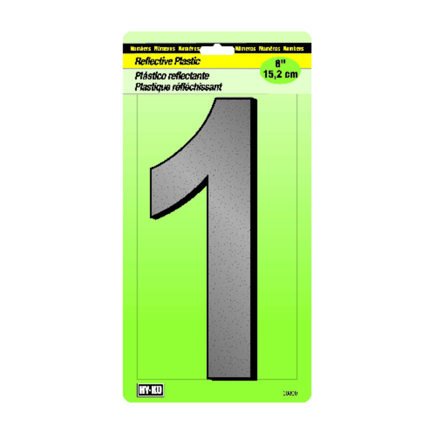 Hy-Ko  6 in. Black  1  Number  Nail-On  Plastic  Reflective