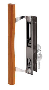 Prime-Line  Wood Tone  Steel  Sliding Glass Door Lock Set  Outdoor