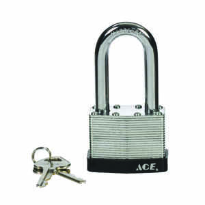 Ace  1-1/2 in. H x 2 in. W x 1-1/16 in. L Steel  Double Locking  Padlock  1 pk
