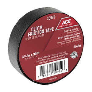 Ace  3/4 in. W x 30 ft. L Black  Cotton Cloth  Friction Tape