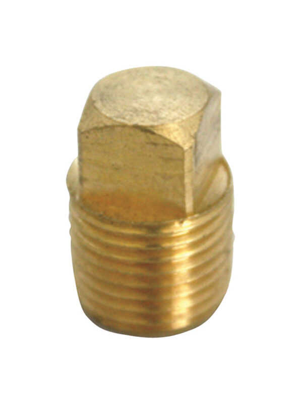 JMF  3/8 in. Dia. MPT  Yellow Brass  Square Head Plug