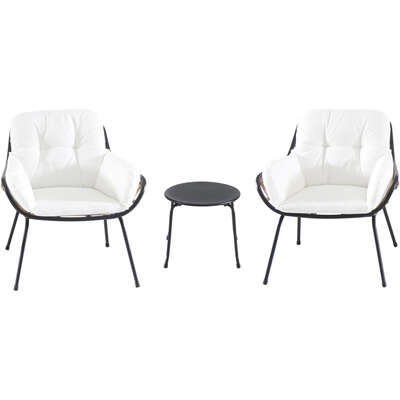 Mod  Bali  3 pc. Black  Steel Frame Chat  Seating Set  White