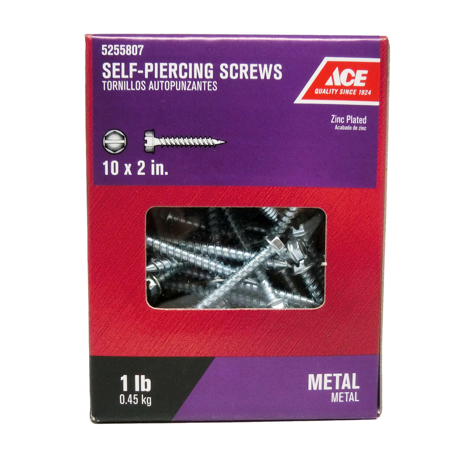 Ace No. 10 x 2 in. L Hex/Slotted Hex Washer Head Zinc-Plated Steel Self-Piercing Screws 1 lb.