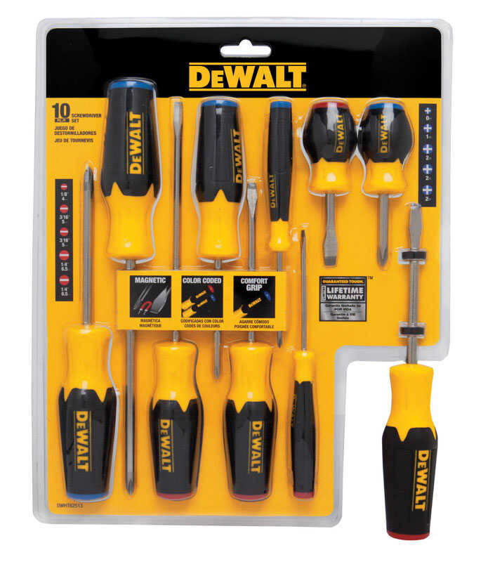 DeWalt  10 pc. Screwdriver Set  Assorted in. Steel