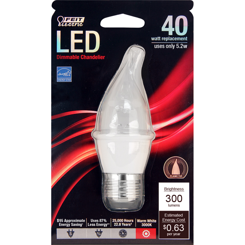 FEIT Electric  5.2 watts CA10  LED Bulb  310 lumens Warm White  Flame Tip  40 Watt Equivalence