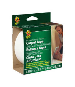 Duck Brand  1.88 in. W x 75 ft. L x 75 ft. L x 1.88 in. W Polyester  Indoor  Carpet Tape