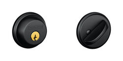 Schlage  Matte Black  Brass  Single Cylinder Deadbolt