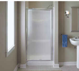 Vista Pivot  65.5 in. H x 36 in. W Silver  Natural  Framed  Shower Door