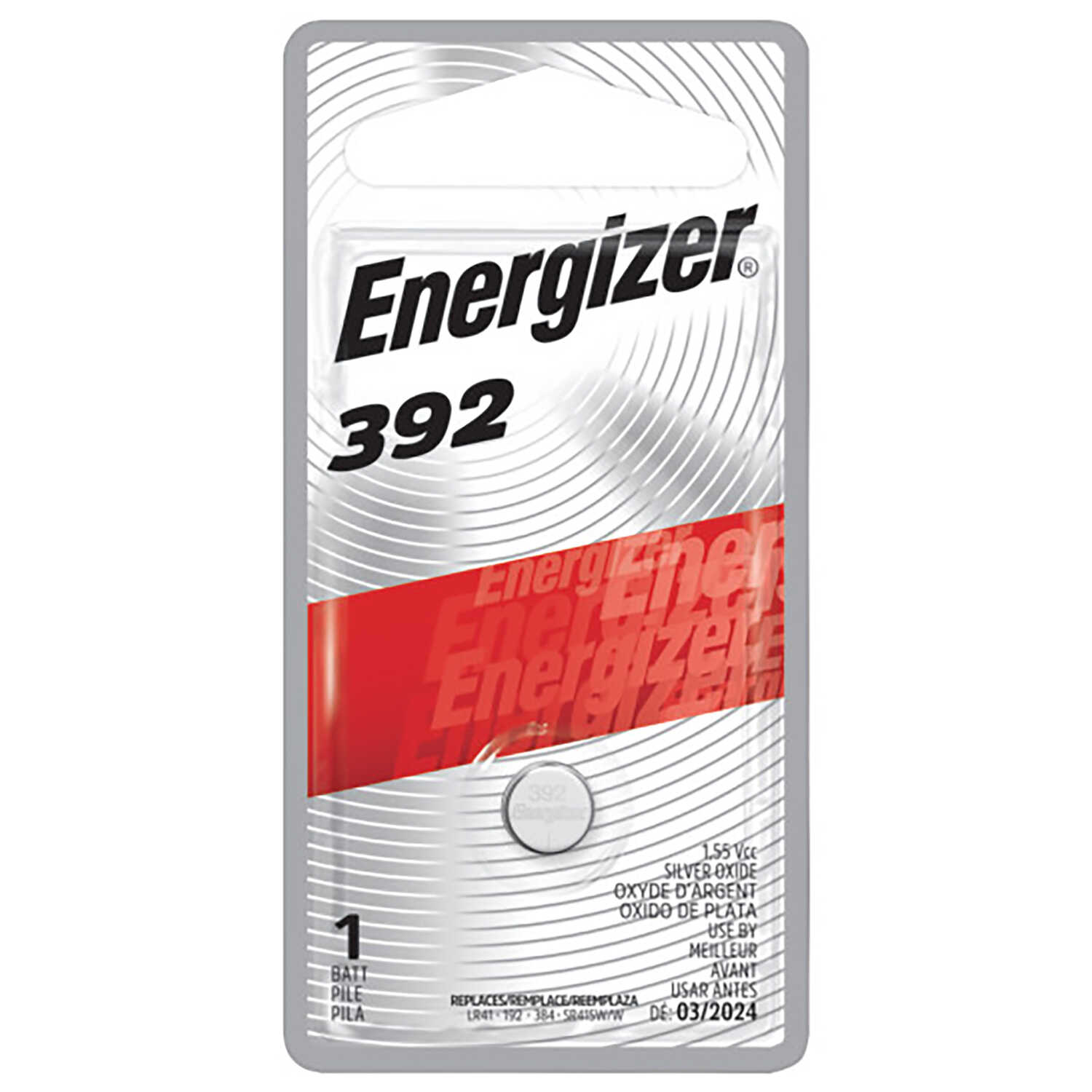 Energizer  Silver Oxide  384/392  1.5 volt Electronic/Watch Battery  1 pk