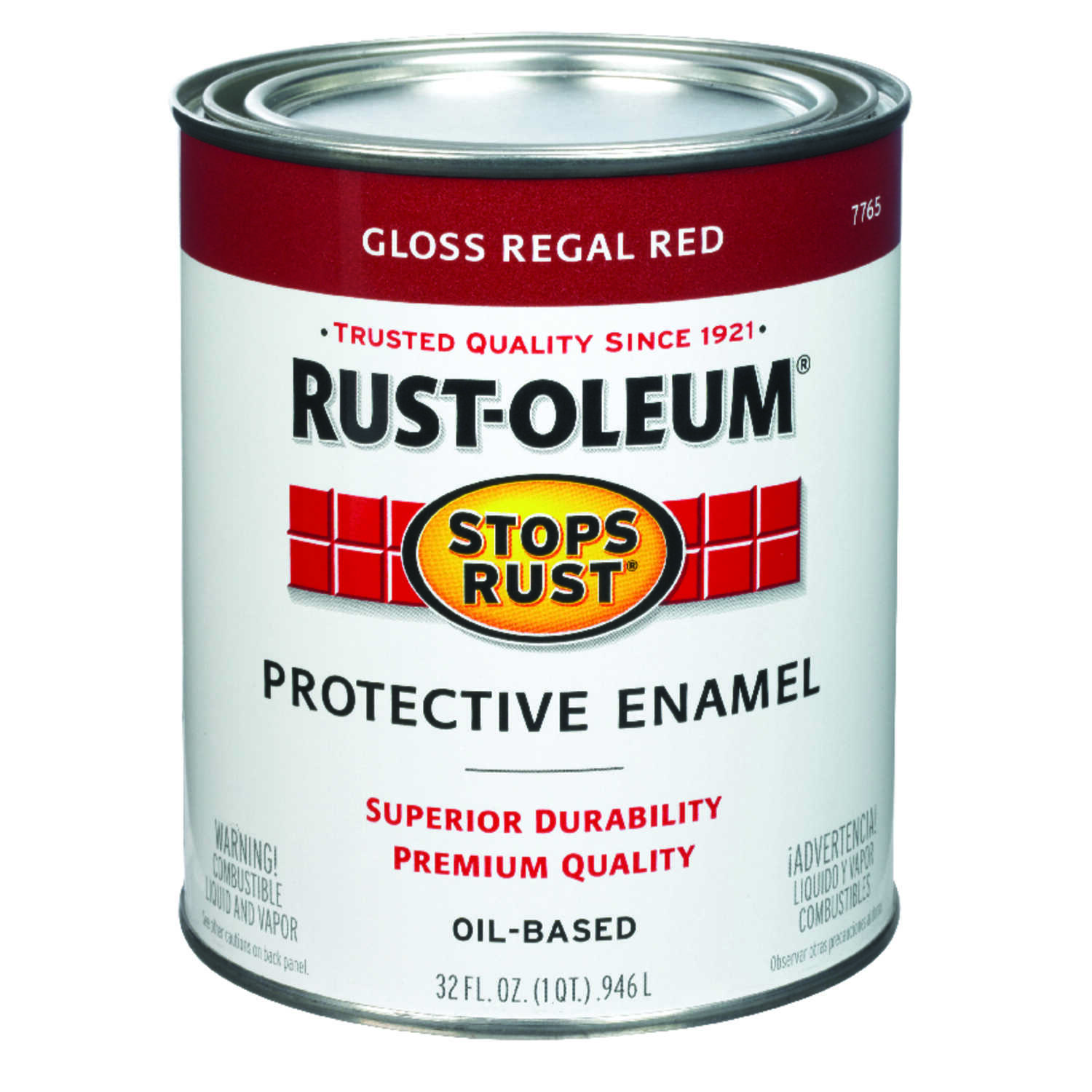 Rust-Oleum  Stops Rust  Gloss  Regal Red  Protective Enamel  1 qt. 485 g/L