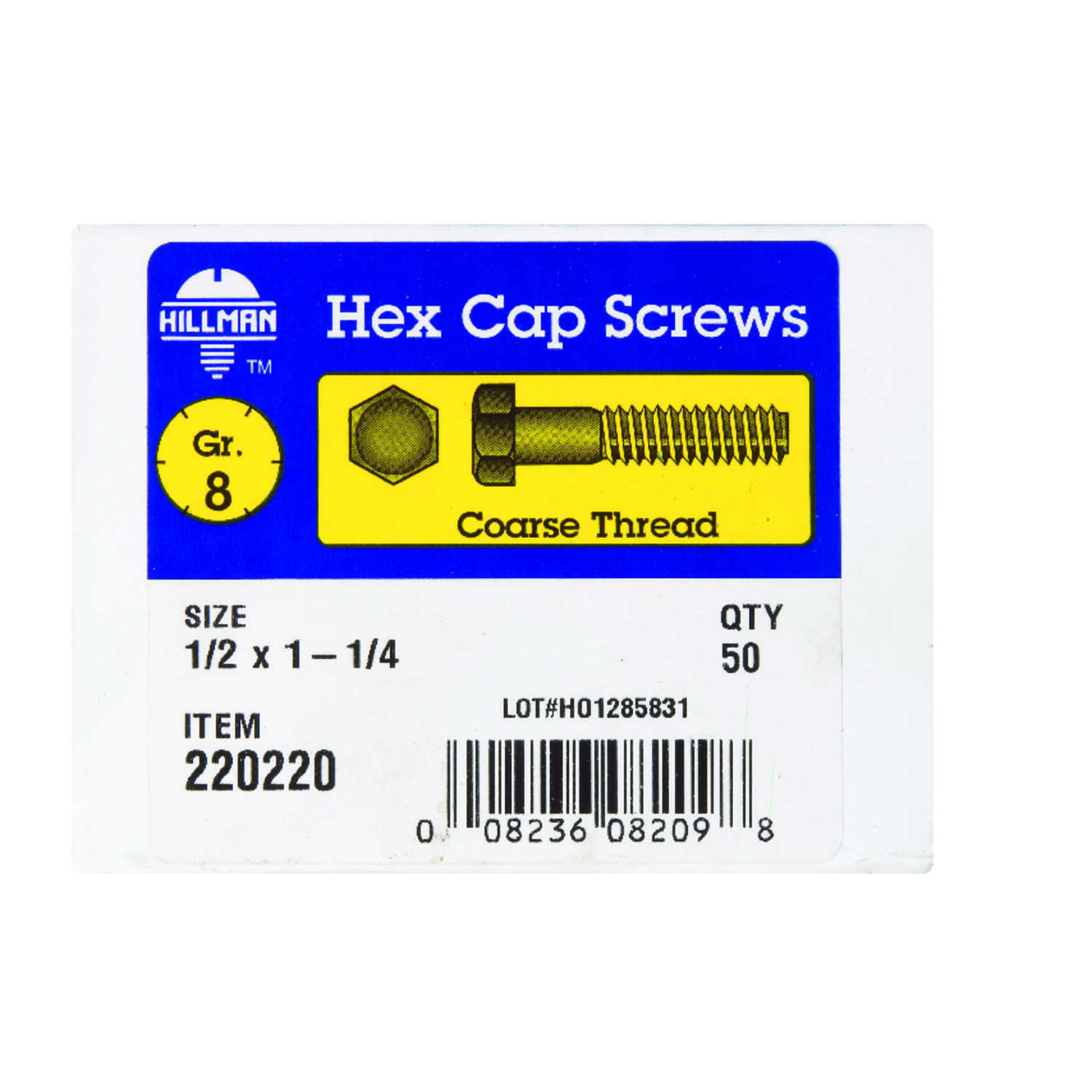 Hillman  1/2 in. Dia. x 1-1/4 in. L Heat Treated  Steel  Hex Head Cap Screw  50 pk
