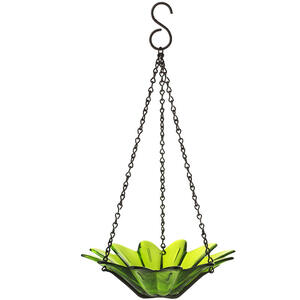 Couronne  Lime  Wild Bird  10.1 oz. Glass  Hanging Bowl  Bird Feeder  1 ports