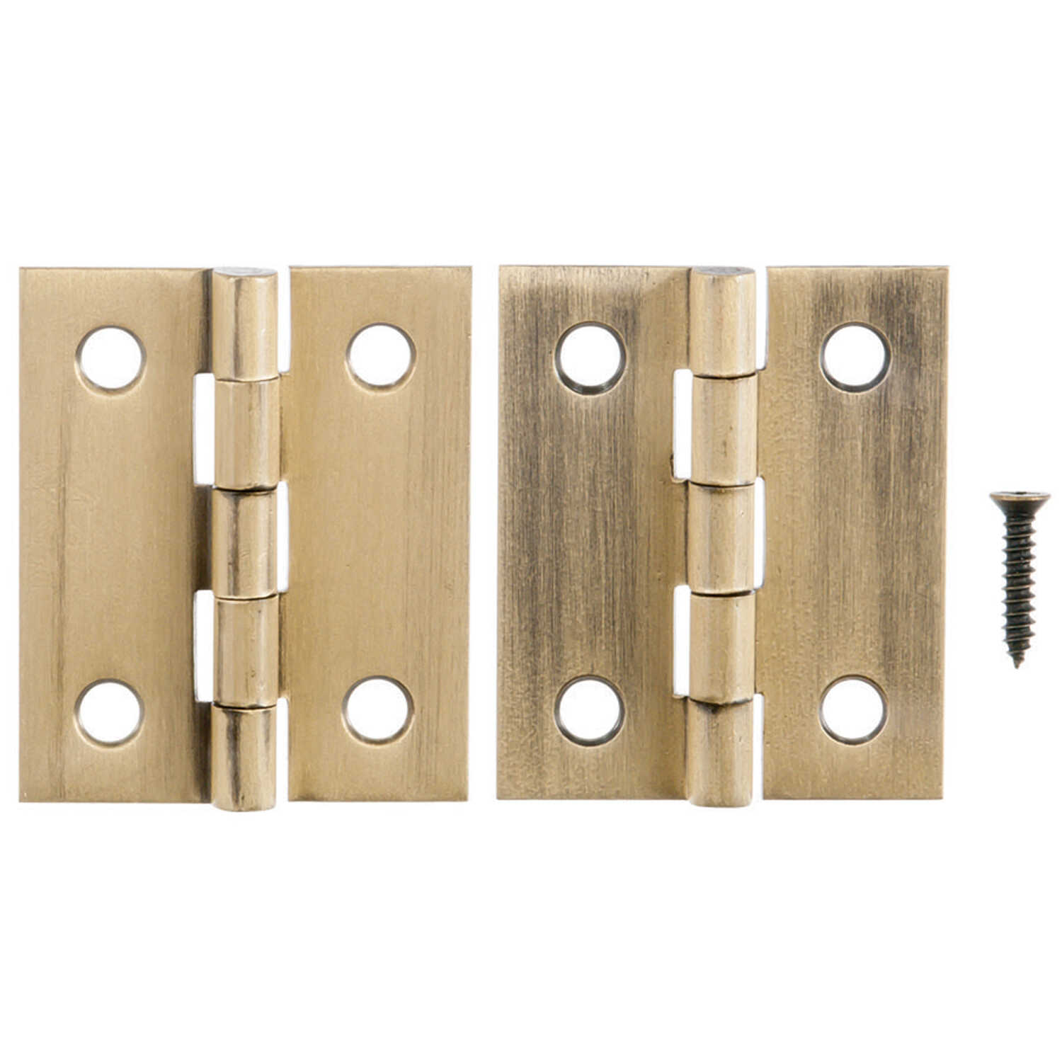 Ace  2.75 in. W x 1-1/2 in. L Antique Brass  Brass  Broad Hinge  2 pk