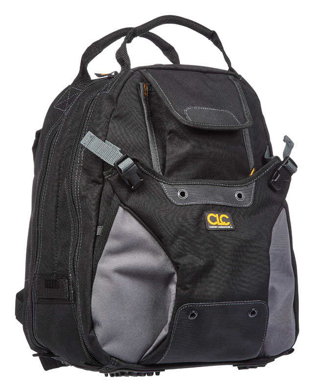 CLC  7.5 in. W x 16 in. H Polyester  Backpack Tool Bag  44 pocket Black/Tan  1 pc.