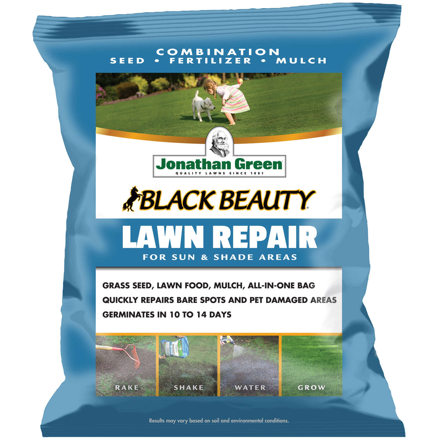 Jonathan Green  Black Beauty Lawn Repair  Mixed  Sun/Shade  Seed, Mulch & Fertilizer  4.5 lb.