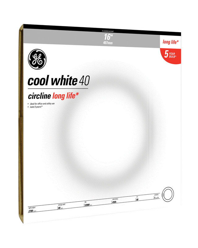 GE Lighting  40 watts T9  16 in. Cool White  Fluorescent Bulb  2700 lumens 1 pk A-Line